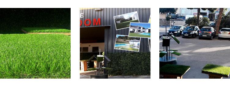 venez nous rendre visite à notre showroom et tester nos pelouses artificielles